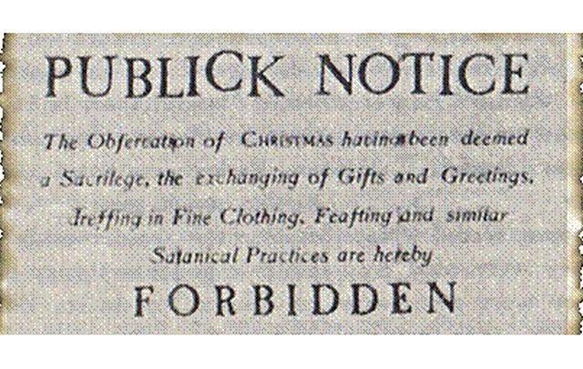 Public notice banning Christmas in Boston