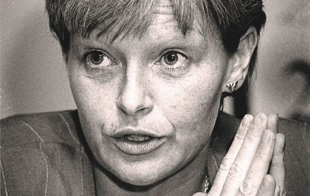 Veronica Guerin speaking at a Fianna Fail conference on crime in April 1996.