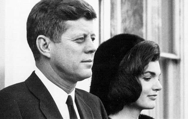 February 19, 1963: President John F. Kennedy and First Lady Jackie Kennedy at a White House Ceremony.