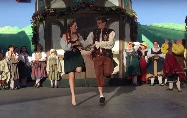 Ben Thomas surprises girlfriend Kelly Boardman with his Irish step dancing moves.