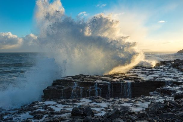 Waves crashing at the village of Easkey in County Sligo, a county synonymous with the Irish surname Feeney.