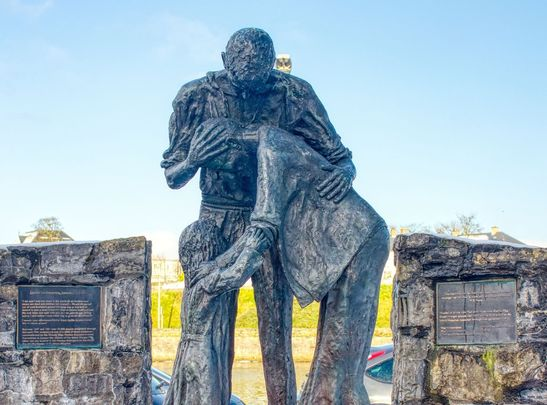 A statue in memorial of those lost in the Great Hunger, in Sligo town.