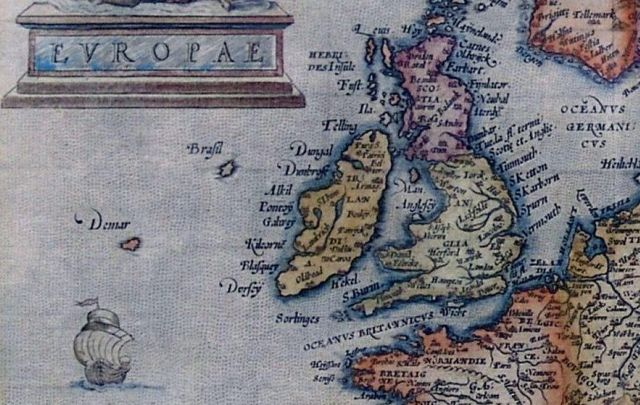 A 1570 map from Abraham Ortelius that shows Brasil to the west of Ireland.
