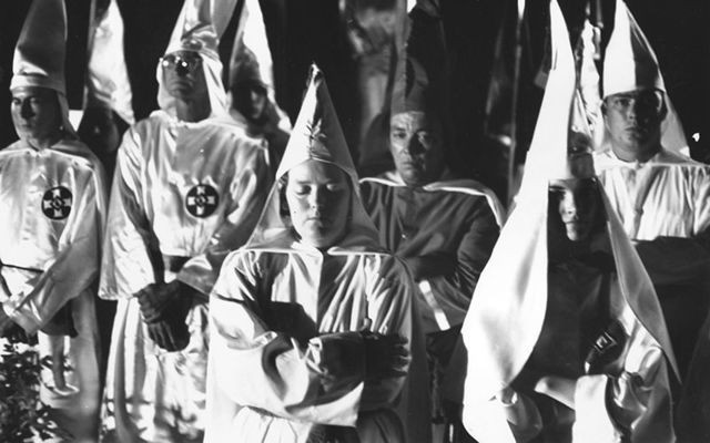 Ku Klux Klan members photographed at a Beaufort, South Carolina meeting, on May 24, 1965.