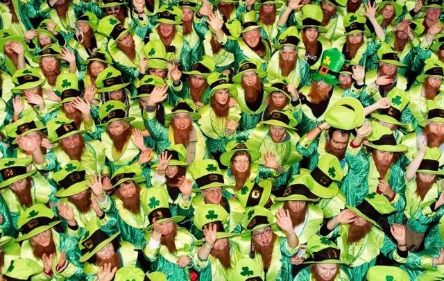 November 2011: People take part in an attempt to break the world record for Largest Gathering of People Dressed as Leprechauns in Dublin!