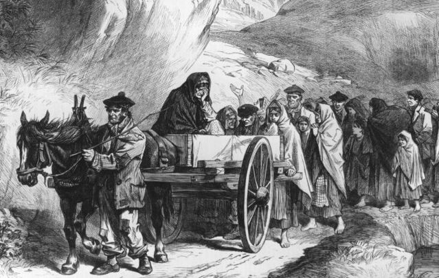 A depiction of a 19th century funeral in Connemara. The Royal Irish Academy provides a detailed account of Irish funeral rituals from the 12th century.