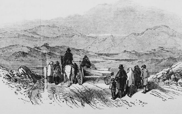 An illustration of a funeral during the Irish Famine.