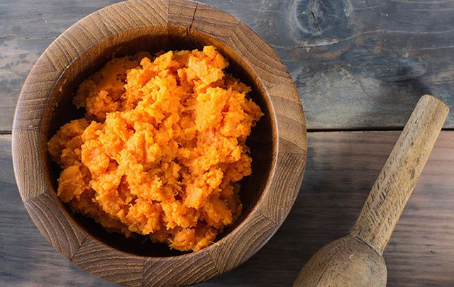 Smashed sweet potatoes to accompany your Thanksgiving dinner