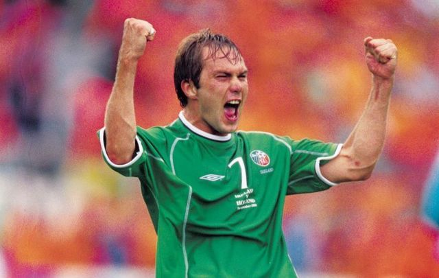 September 1, 2001: 1 Sep 2001: Jason McAteer, the Republic of Ireland\'s winning goalscorer, after the World Cup Qualifier against Holland played at Lansdowne Road in Dublin, Ireland. The Republic of Ireland won the game 1-0.