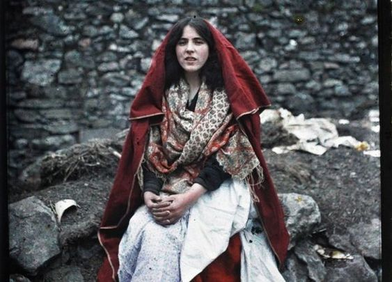 A 14-year-old girl wearing a traditonal cape, at the Claddagh, Galway, in 1913.