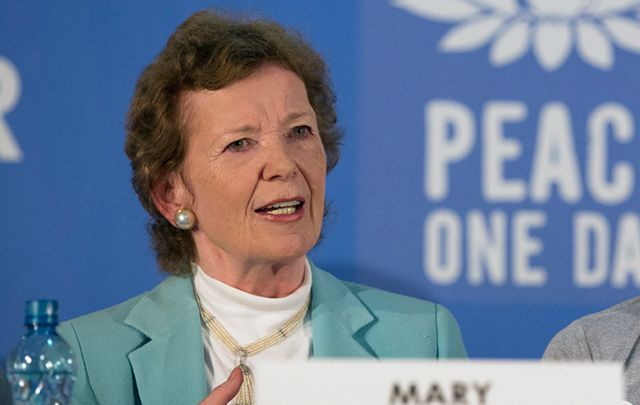 Mary Robinson  in a live broadcasted press conference to announce the annual Peace One Day concert to be held in Goma on September 21, 2014.