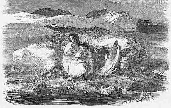 An illustration of a desperate mother and child during Ireland\'s Great Hunger.