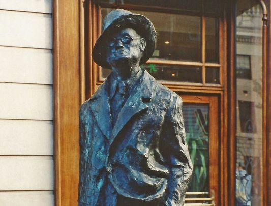 James Joyce: a statue on North Earl Street, in Dublin city, erected in 1998.