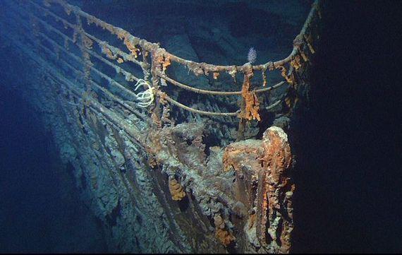 The Titanic\'s bow on the ocean floor.