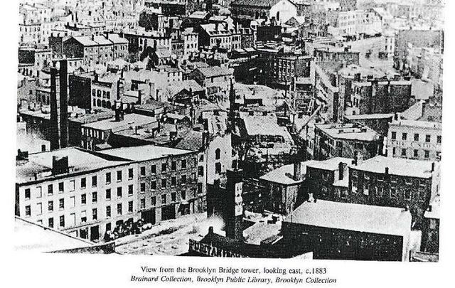 View from the tower of the Brooklyn Bridge to Brooklyn (Vinegar Hill), circa 1883.