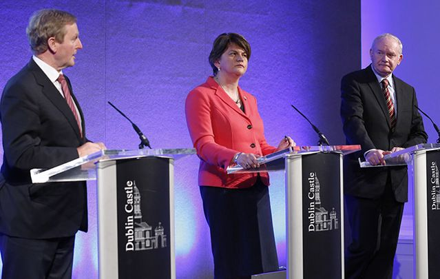 Taoiseach and Fine Gael leader Enda Kenny with Leader of the Democratic Unionist Party and Northern Ireland First Minister Arlene Foster and Sinn Fein Deputy First Minister of Northern Ireland Martin