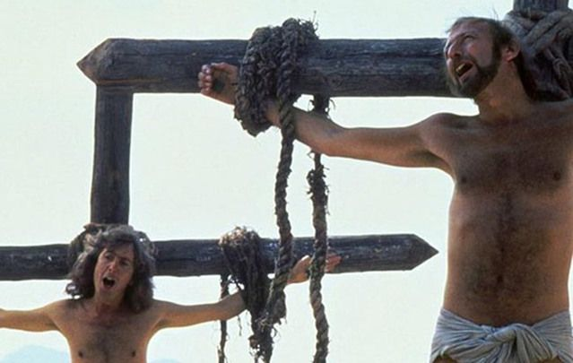 """The Life of Brian\"": Eric Idle and Graham Chapman in the famous \""Always Look on the Bright Side of Life\"" scene."