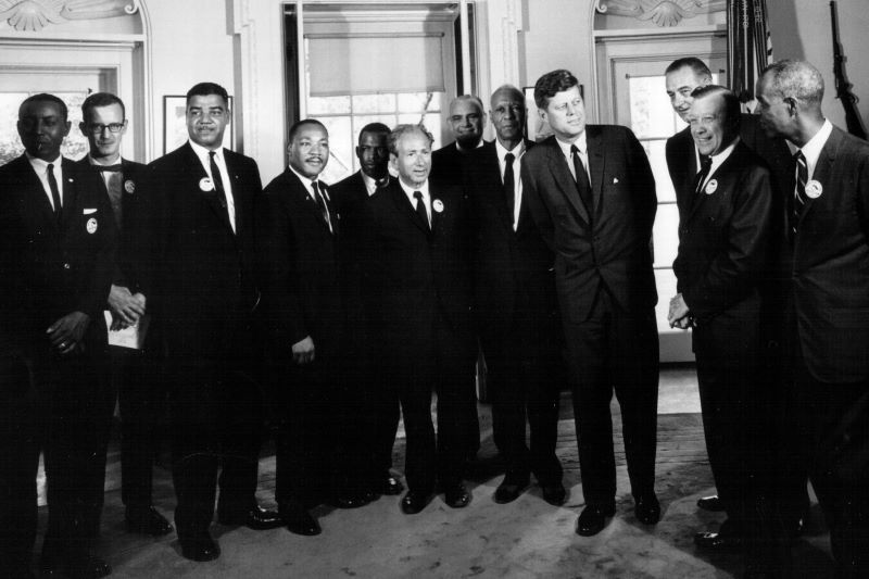 President Kennedy meets with civil rights leaders at the White House on August 28, 1963 (Getty Images)