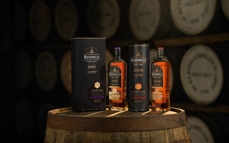 The 2008 Muscatel Cask and the 1995 Malaga Cask from The Causeway Collection. Credit: Bushmills Irish Whiskey