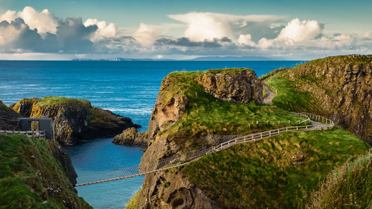 A view of  Carrick-a-Rede Rope Bridge just off the Causeway Coast Way