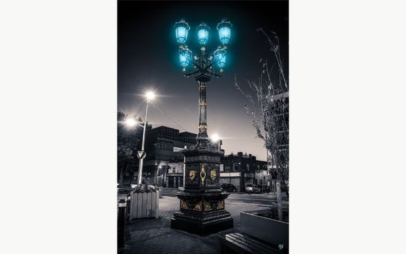 The five lamps (in a row), Dublin.  Print by Maxi, from Jam Art Factory.