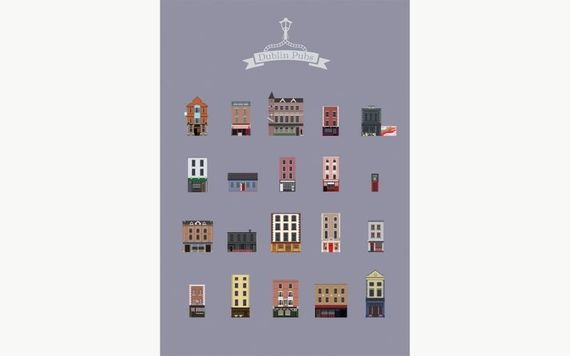 Minimal Dublin Pubs Print, by Maxi, from Jam Art Factory.