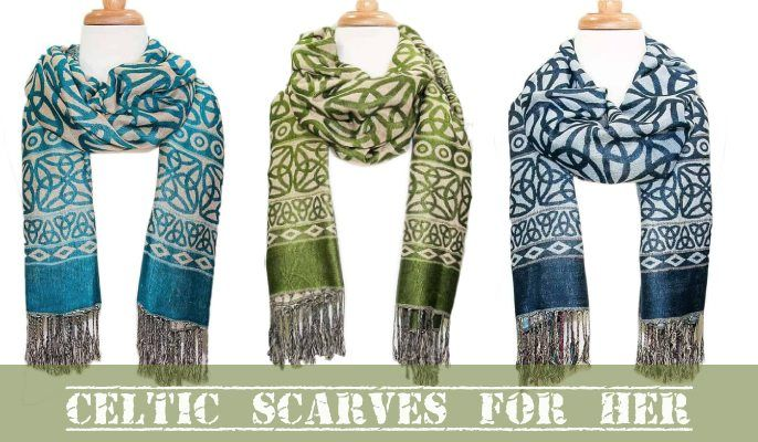 Celtic scarves and wraps come in a variety of colors