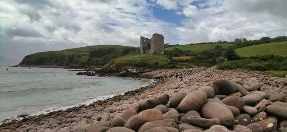 The 16th-century Minard Castle and views across Dingle Bay.