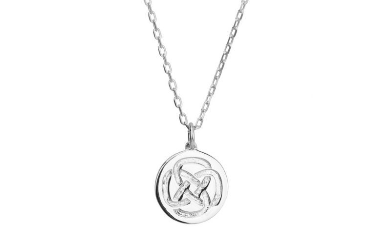 The Dara Knot Strength Necklace in silver. (Liwu Jewellery)