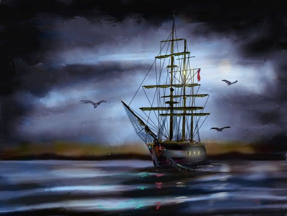 Drawing of the type of Famine ship that brought Irish immigrants to America