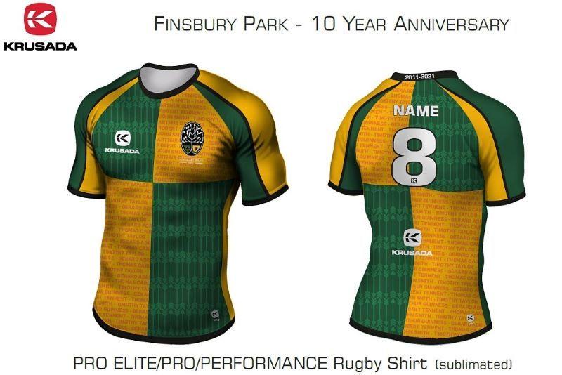 Finsbury Park RFC's 10 year anniversary jersey.