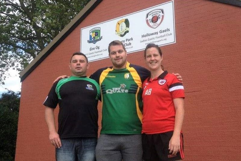 Presidents of Eire Óg and Holloway Gaels with Sean Burke.