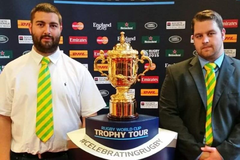 Stephen Morse and SéanBurke with the William Webb Ellis Cup.
