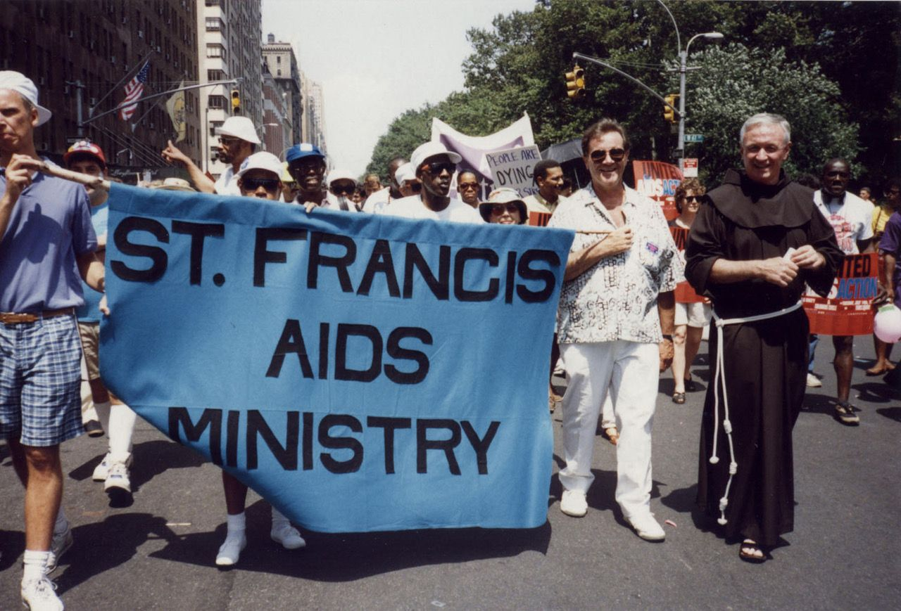 Father Mychal on the march with his AIDS ministry.