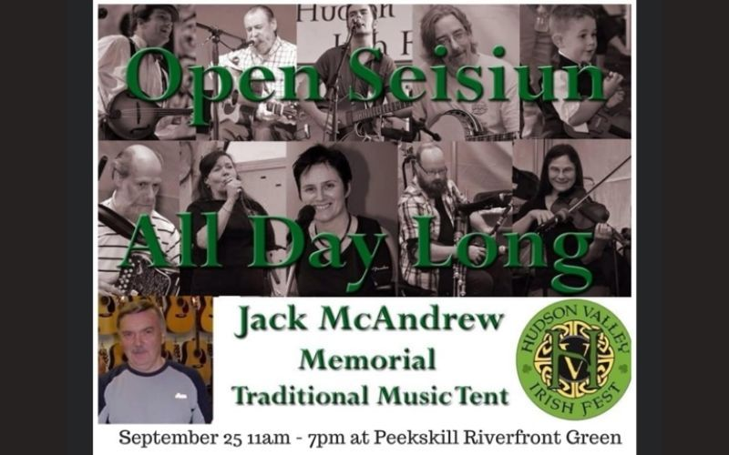 The Jack McAndrew Memorial Traditional Tent features renowned traditional Irish musicians