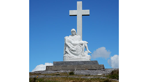 Crucifixion Statue near Seefin Mountain overlooking Bantry Bay.