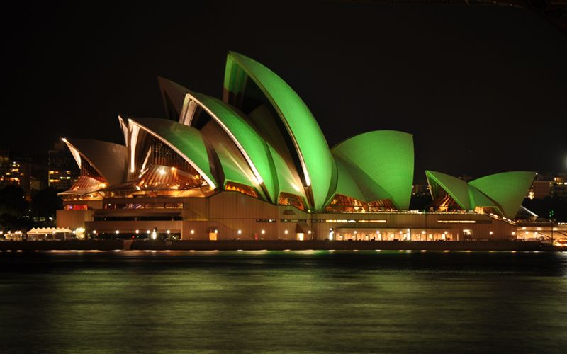 Sydney Opera House specially lit for St Patrick's Day in 2010. Photo: Mike Young, Wikimedia Commons.