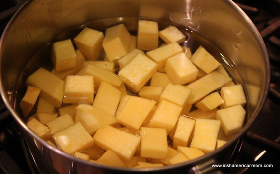 Boiling the rutabaga.
