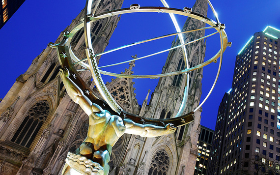 The Atlas statue on Fifth Avenue outside St. Patrick's Cathedral.