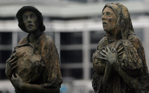 Rowan Gillespie's famous Famine Memorial on the quays of the Liffey, in Dublin.