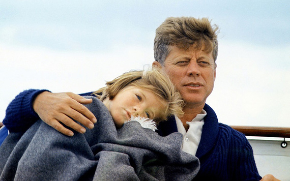 John F Kennedy and his daughter Caroline.