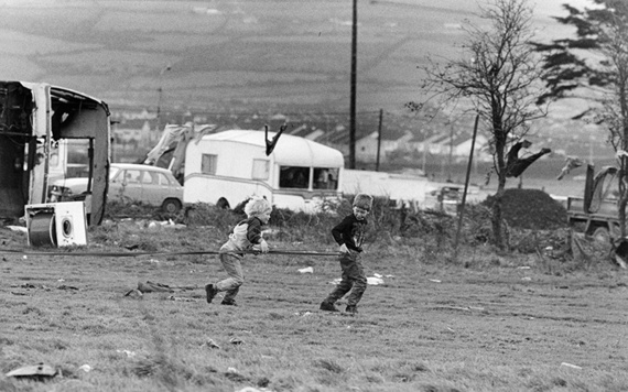 Archive photos of Irish Traveller children playing on their halting site.