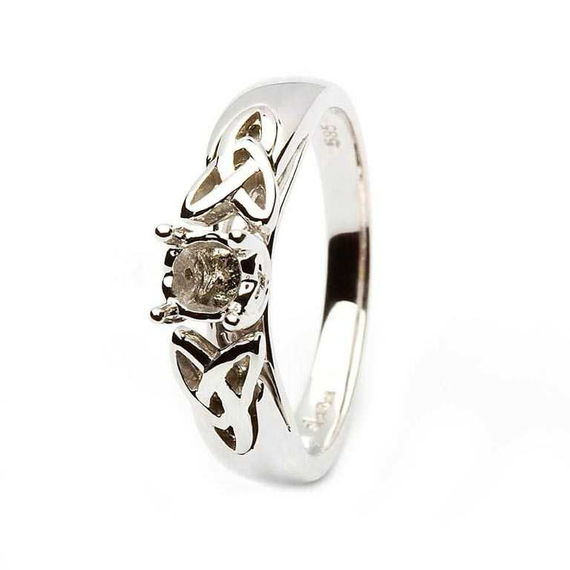 14K White Gold Celtic Trinity Ring for Round Cut Diamond