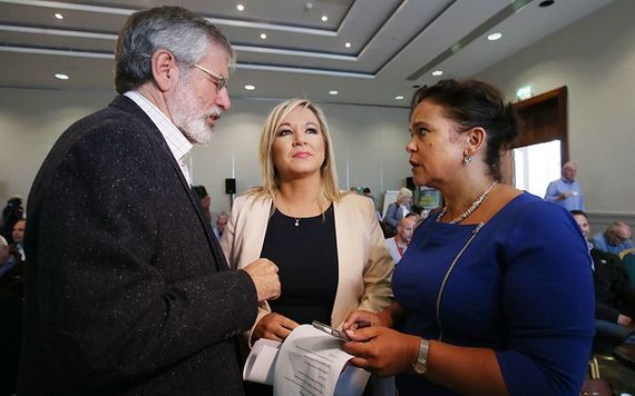 Gerry Adams, Michelle O'Neill and Mary Lou McDonald. Credit: ROLLINGNEWS