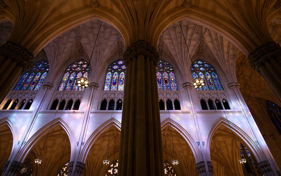 The Gothic columns in St. Patrick' Cathedral New York.