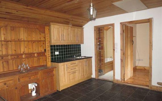 The modern pine kitchen in the Kylebeg cottage.
