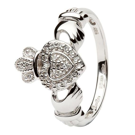 14K White Gold Claddagh Ring Encrusted with Diamonds