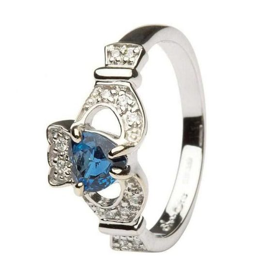 Claddagh Ring with Sapphire and Diamond