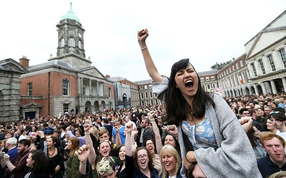Celebrations at Dublin Castle: 66.4% of Ireland's electorate voted to change Ireland's abortion laws.