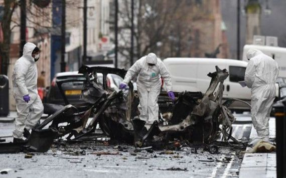 The aftermath of a bomb attack in Derry in January 2019, claimed by the Irish Republican Army.